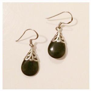 Sterling silver black drop earrings
